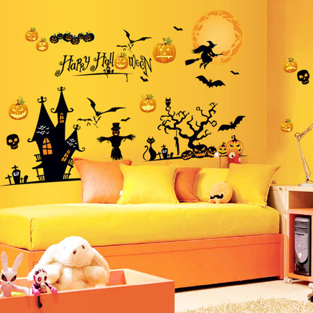 decoracion halloween wall stickers home decor for kids rooms citrouille halloween adesivo de parede - Halloween Room Ideas