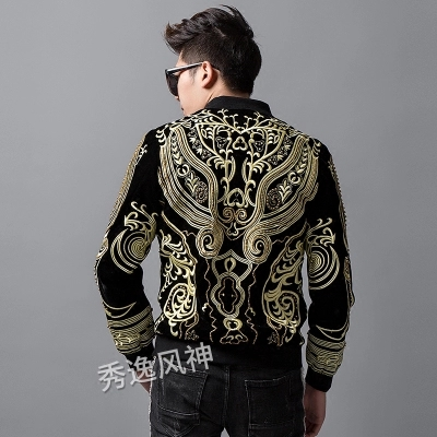 Luxury mens royal blackk/red beading golden embroidery event/stage performance short fashion jacket/studio/ASIA SIZE