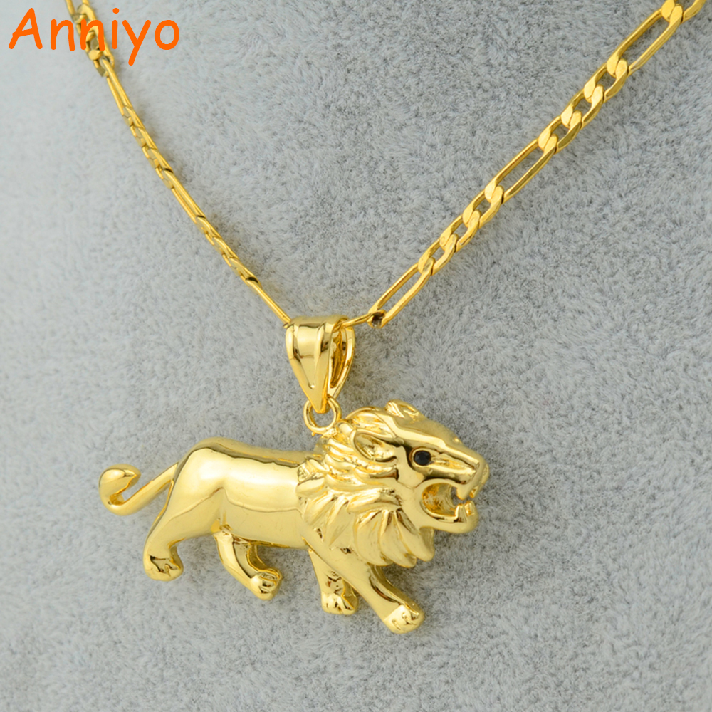 Anniyo Gold Lion Necklace for Women/Men,Gold Color Lions Head Pendant Animal Jewelry,Africa Lion Ethiopian Best Gift #051406