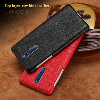 LANGSIDI Brand Phone Case Litchi Grain Half Wrapped Phone Case For Nokia 9 Phone Case Full
