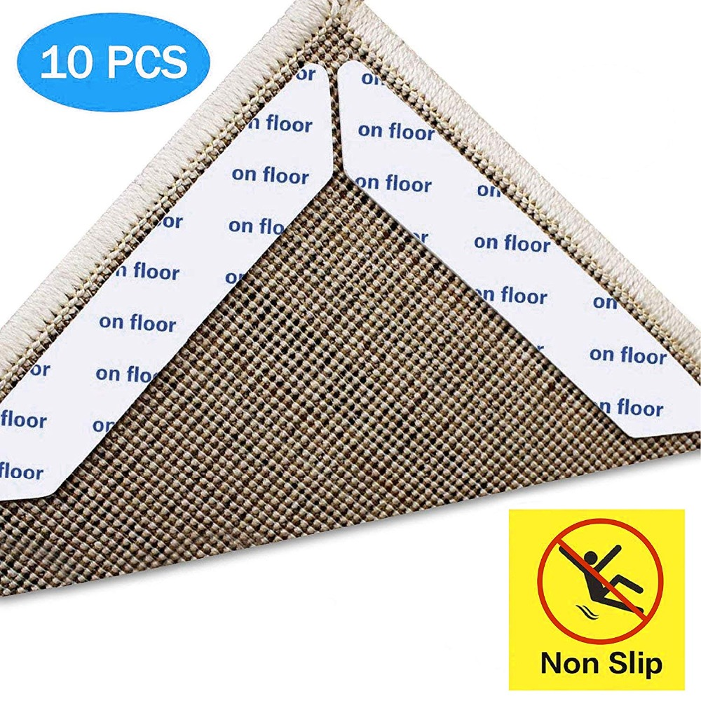 Rug Gripper, 10pcs White Gripper for Wooden Floors, Reusable Carpet Sticker Anti Slip Rug Underlay,Rug Tape Anti Rug Slip cracked wood print skidproof flannel rug