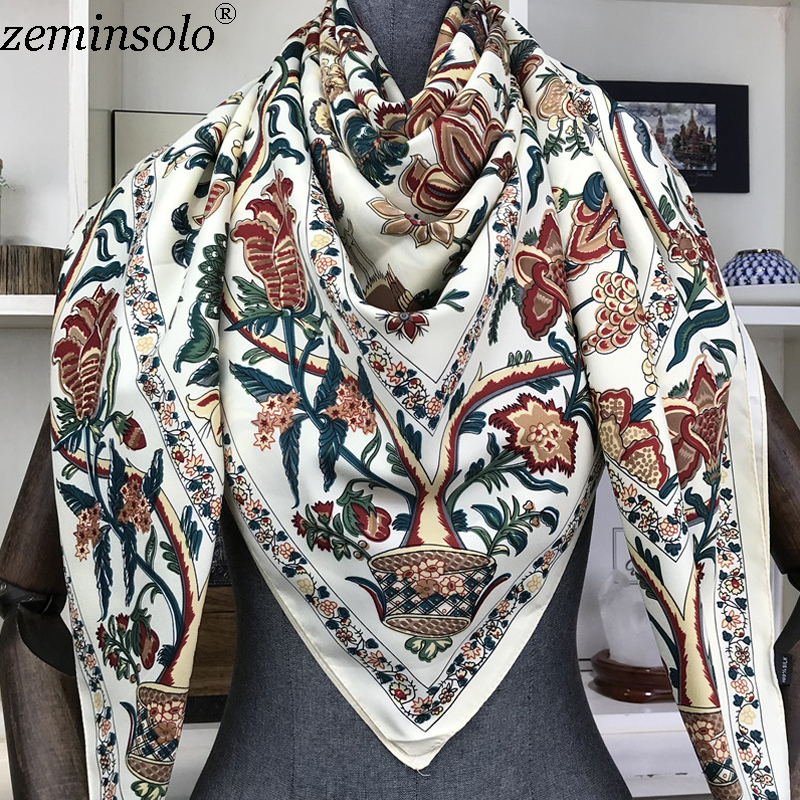 100% Silk Scarf Women Large Shawls Floral Print Stoles Square Bandana Luxury Brand Kerchief Scarves Female Foulard 130*130cm