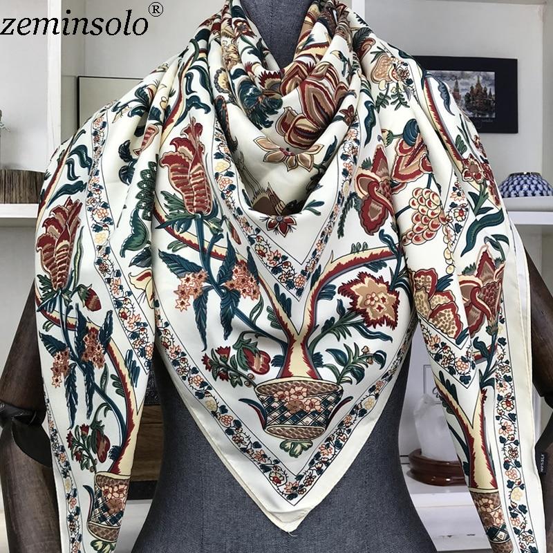 100% Silk Scarf Women Large Shawls Floral Print Stoles Square Bandana Luxury Brand Kerchief Scarves Female Foulard 130*130cm
