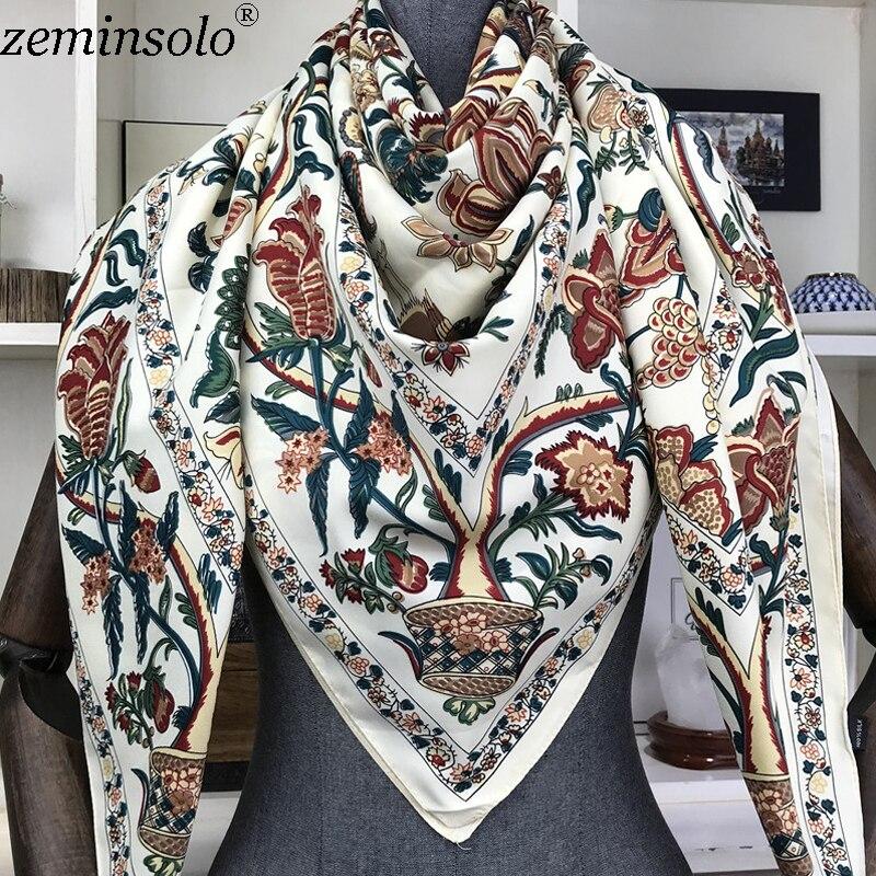 100% Silk Schal Frauen Große Schals Floral Print Stolen Platz Bandana Luxus Marke Tuch Schals Weiblich Foulard 130*130 cm