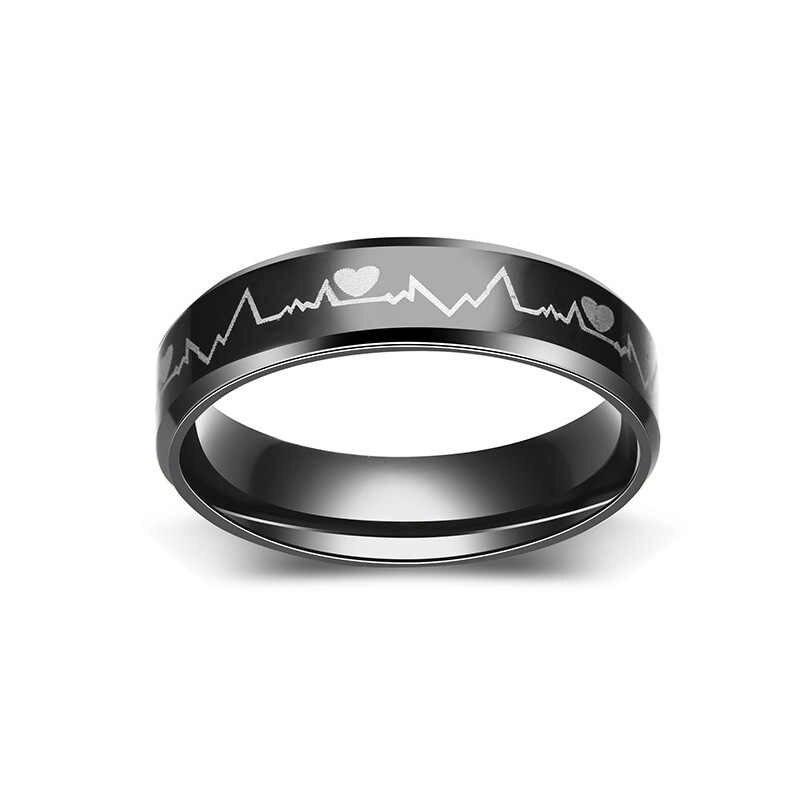 טבעת גברים/נשים טיטניום פלדה שחור רל גל פעימות לב טבעת תכשיטים פשוט סגנון