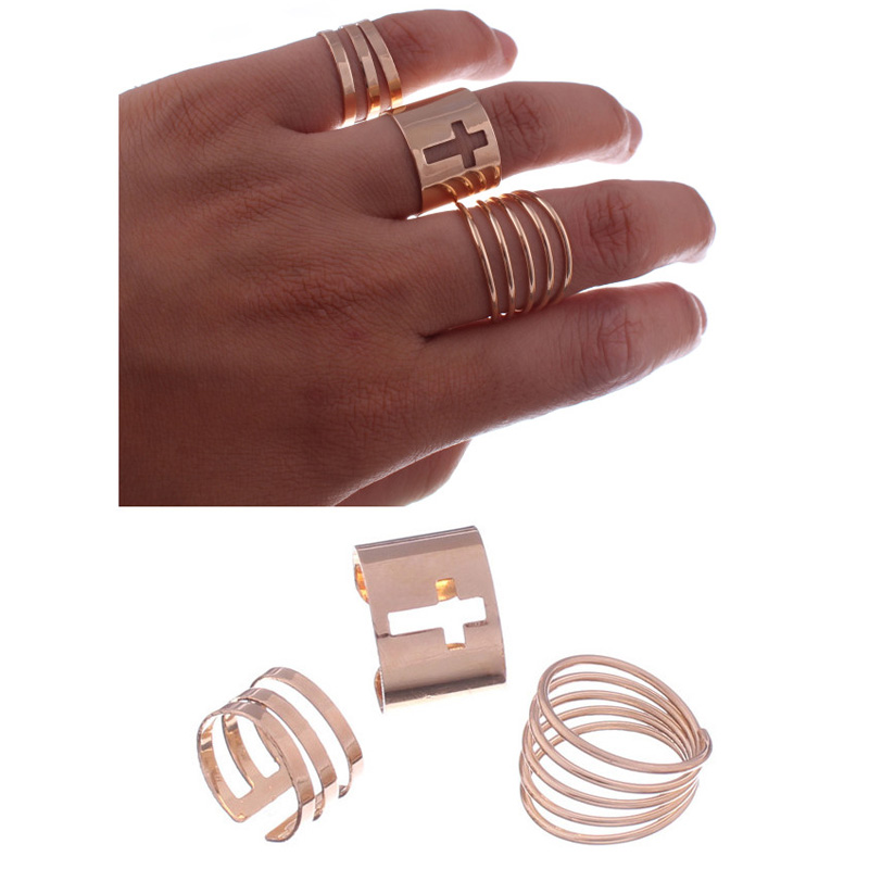 3 pcs/sets Fashion Punk Rings Hollow Cross Opening Rings Sets Adiuseable Knuckle Stacking Finger Rings For Women Bijoux Jewelry