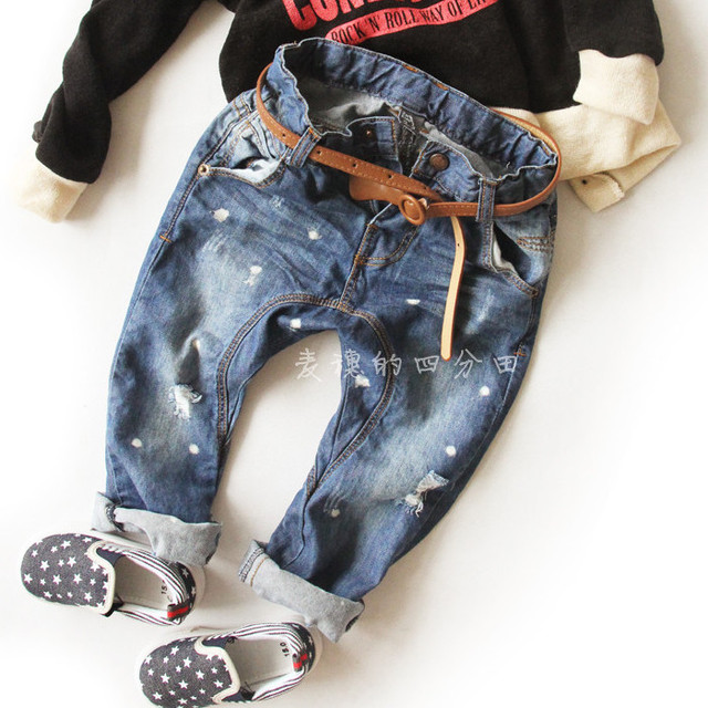 new brand kids jeans paint hole kids harem pants 100% cotton baby boys denim girls big pp pants Free shipping
