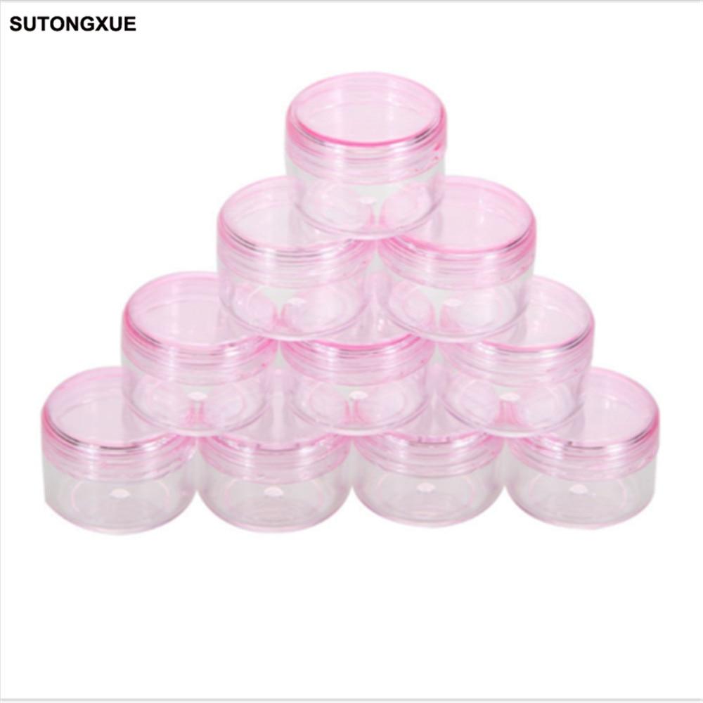 5Pcs cosmetic sifter jars Pot Box Nail Art Cosmetic Bead Storage Makeup Cream Box Plastic Container Round Bottle Pink 25 50 storage bottle plastic empty box case pot 4 nail art rhinestone bead gems