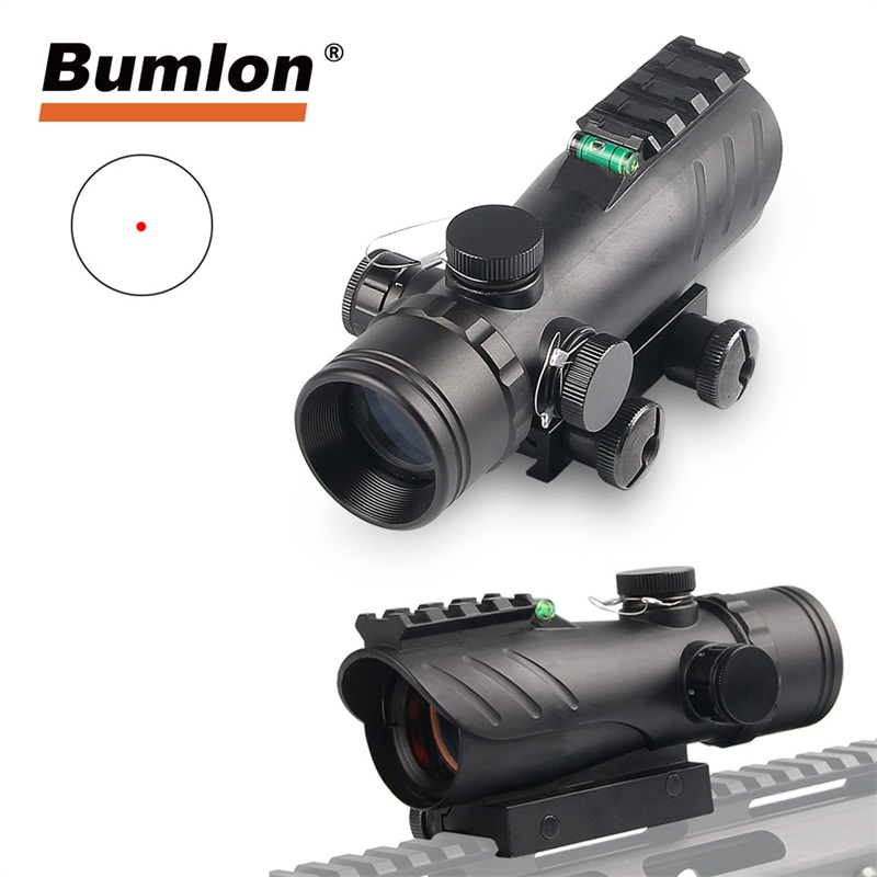2019 New Acog Reflex Scope Titacal Red Dot Sight Bubble Level 20mm Rail Mount Red Dot Sight Scope for Hunting Airsoft Rifle