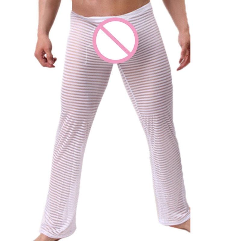 Fashion Men's Sexy Transparent Striped Pants Men Pajama Pants Man See Through Full Length Pants Trousers Nightwear Sleep Bottoms