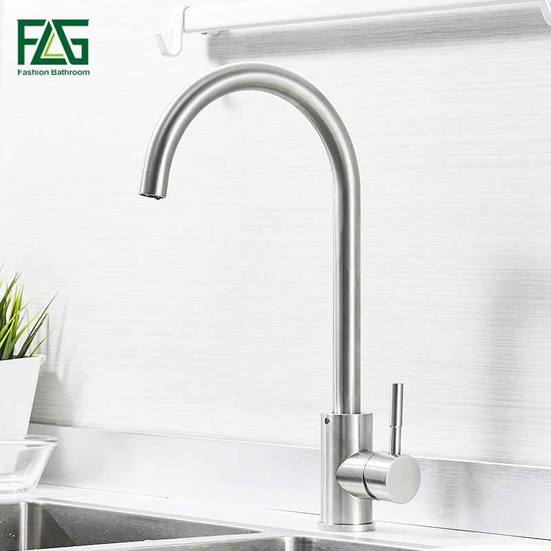 FLG Kitchen Faucet 360 Degree Rotation Rule Shape Curved Outlet Pipe Tap Basin Plumbing Hardware Brass Sink Faucet 925-33N kitchen faucet rotation rule shape curved outlet pipe tap basin plumbing hardware brass sink faucet