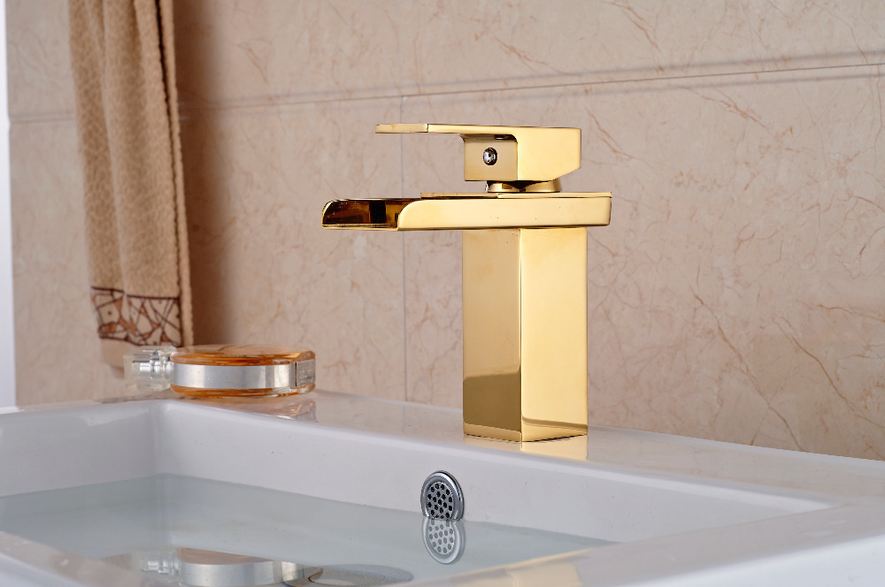 Luxury Golden Brass Bathroom Basin Faucet Waterfall Deck Mounted Sink Water Mixer tap Single Handle deck mounted golden brass swan basin faucet single handle countertop sink mixer