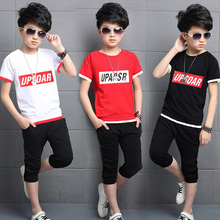 Summer Boys Clothing Sets 3-13years Boys Casual T-shirt+Shorts For Kids Clothing Cotton Children Boys Clothing Sport Sets цены