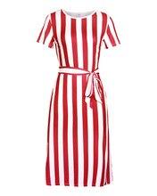 купить!  Летнее новое платье с длинными полосками белого цвета с поясом с коротким рукавом и элегантным офисн