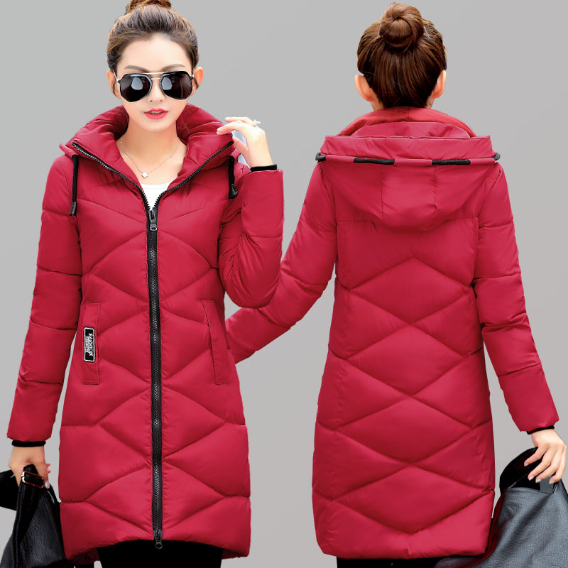 Winter coat female thick cotton coat long section large size slim hooded feather cotton Jacket pregnant women coat autumn and winter cotton fashion long section slim was thin feather cotton clothing thickened cotton jacket