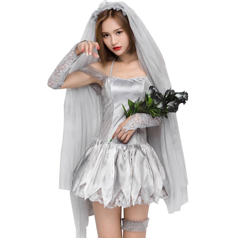 Halloween Gray Print Ghost Corpse Bride Horror Wedding Dress Zombie Bride Dress Up Roll Play Cosplay Costume