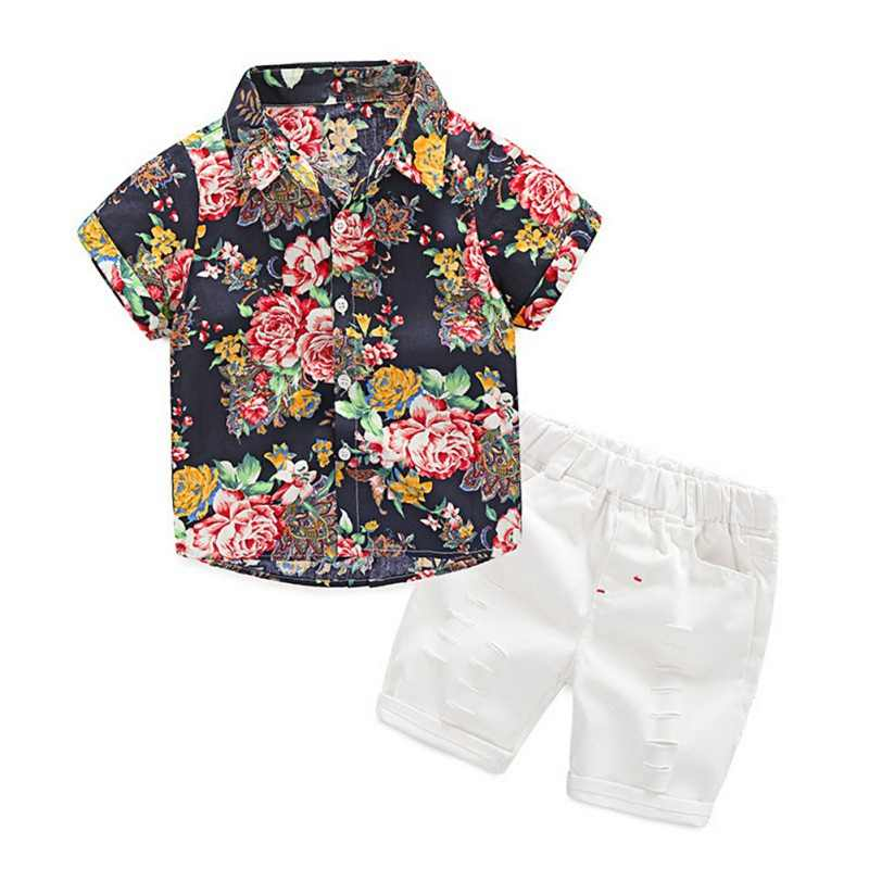 cf7ef39341 Children's Clothing Summer Baby Boys Short Sleeve Floral Print Tops Blouse  Shirt+Hole Shorts Casual Outfits Sets C