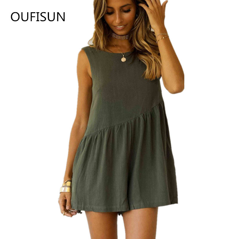 Oufisun 2019 Fashion Summer Jumpsuit Women Rompers Sexy Sleeveless Backless Bodysuit Solid Loose Ladies Overall Casual Playsuits