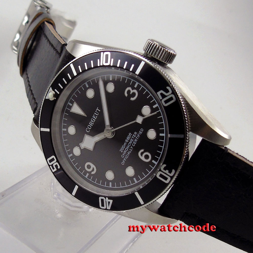 лучшая цена 41mm corgeut black dial black bezel Sapphire glass miyota automatic mens Watch