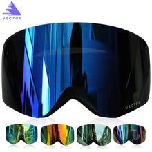 Вектор бренд лыжные очки Для мужчин Для женщин Двойные линзы UV400 Анти-туман Лыжный Спорт очки снег очки для взрослых Лыжный спорт Сноуборд очки