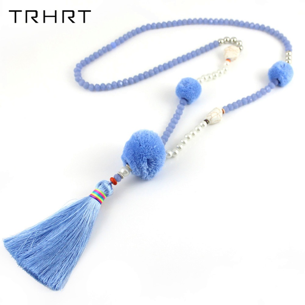 TRHRT Jewelry Autumn Winter Women Statement Necklaces Blue Crystal Bead Big Plush Ball Tassel Pendant Necklaces for female gift