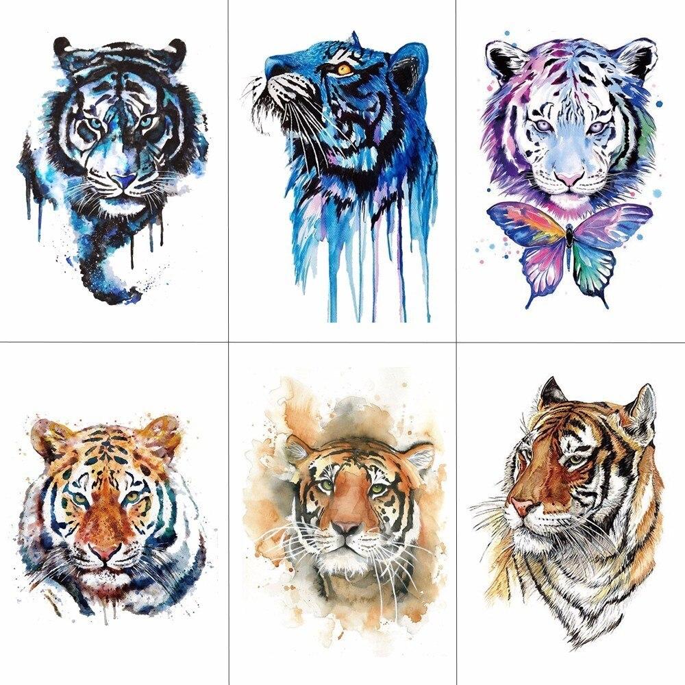 Hxman tigre temporária aquarela tatuagem adesivo à prova dwaterproof água moda feminina falso corpo arte braço tatuagens 9.8x6 cm crianças mão tatoo A-044