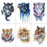 HXMAN Tiger Temporary Watercolor Tattoo Sticker Waterproof Women Fashion Fake Body Art Arm Tattoos 9.8X6cm Kids Hand Tatoo A-044