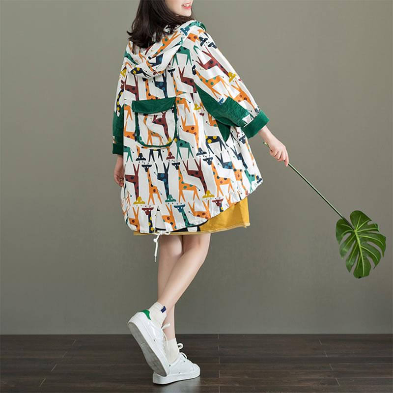 XITAO Hoodies Slim   Trench   Women Single Breasted Print Animal Pattern Pocket Wild Joker Casual Korea Fashion Elegant WBB4301