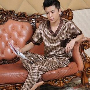 Male summer short-sleeve silk sleepwear 2019 luxury Silk Pajamas men clothing casual loungewear set homewear