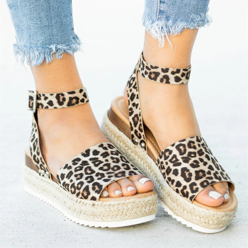 Women Sandals Plus Size 43 Wedges Shoes Woman Chunky Heels Sandals Summer Shoes Casual Leopard Platform Sandals Chaussures Femme