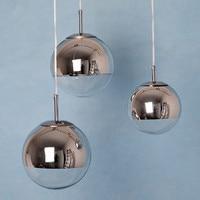 Modern Dixon pendant lamps Chrome Mirror Glass ball shade Pendant Lights fixture for dinning room coffee bar kitchen E015 627