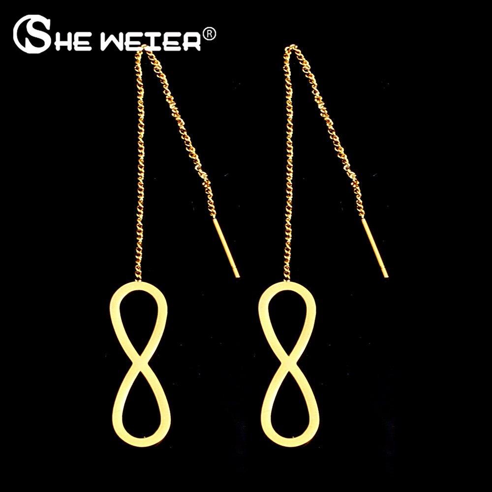 SHE WEIER stainless steel jewelry korean dangle drop long cross earrings hanging female brincos earing fashion charms silver