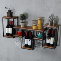 Industrial Retro Rustic Style Multi Function Shelves Iron Art Solid Wood Board Wine Glass Holder Storage Wine Rack Coffee Shop