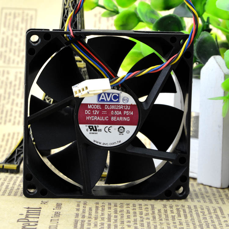 AVC 8025 80mm x 80mm x 25mm DL08025R12U Hydraulic Bearing PWM Cooler Cooling Fan 12V 0.50A 4Wire 4Pin Connector delta afb0812sh 8025 8cm 80mm 12v 0 51a dual ball fan power supply chassis cooling fan 4 pin pwm fan