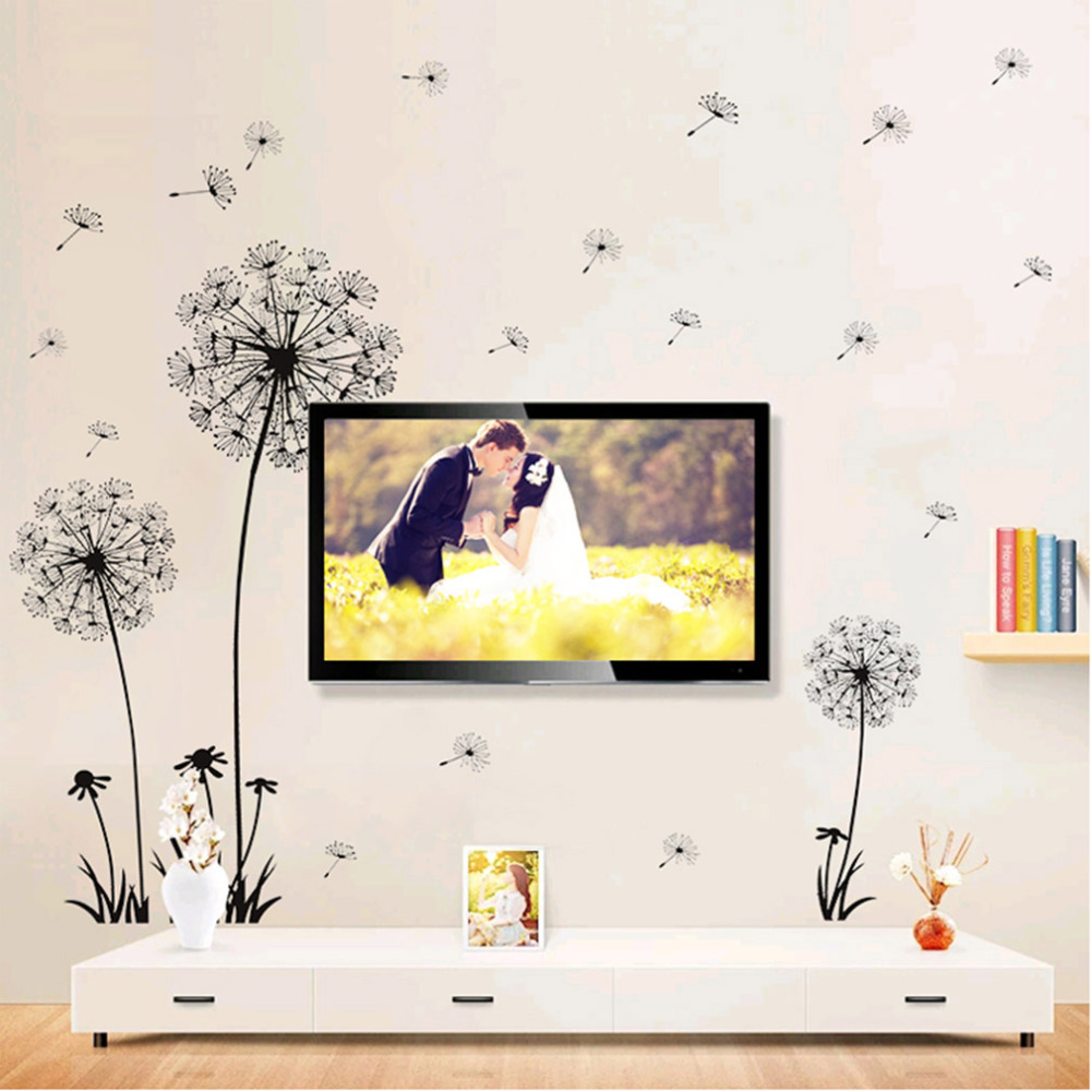 70*50cm Dandelion Wall Sticker Art Living Room Bedroom Wall Decals PVC Wall Decoration Happy Gift TV Background Sticker