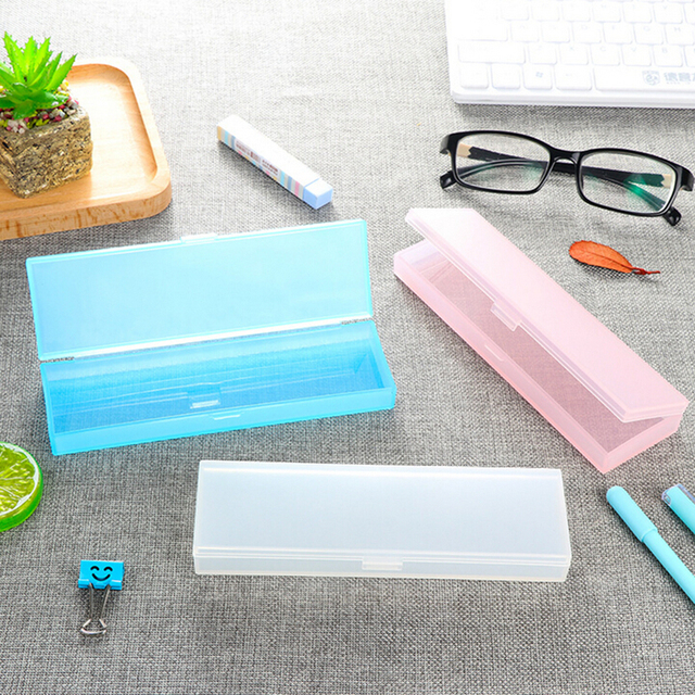 hot sale fashion kawaii transparent plastic pencil case lovely pen