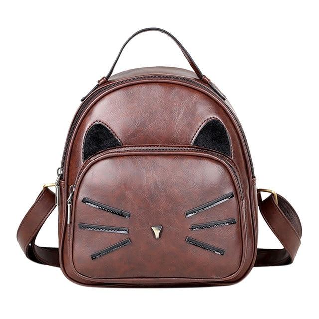 PU Leather Backpack Women Backpacks School Bags For Teenage Girls Cartoon  Cute Cat Printed Mochilla Cat Backpacks Travel Bags c8ab147c5826f