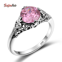 Szjinao Antique Rings Pink Crystal Handmade 925 Sterling Silver Rings Women Oakland Raiders Championship Rings Custom