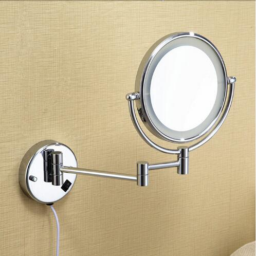 Chrome Wall Mounted 8 inch Brass one side 3X Magnifying Mirror LED Light Folding Makeup Mirror Cosmetic Mirror Lady Gift high quality 9 brass 1x3x magnifying bathroom wall mounted round 25 led cosmetic makeup mirror with lighting mirror 2068