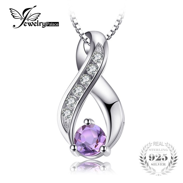 JewelryPalace Fashion 0.3ct Round Natural Amethyst Necklaces Pendants For Women
