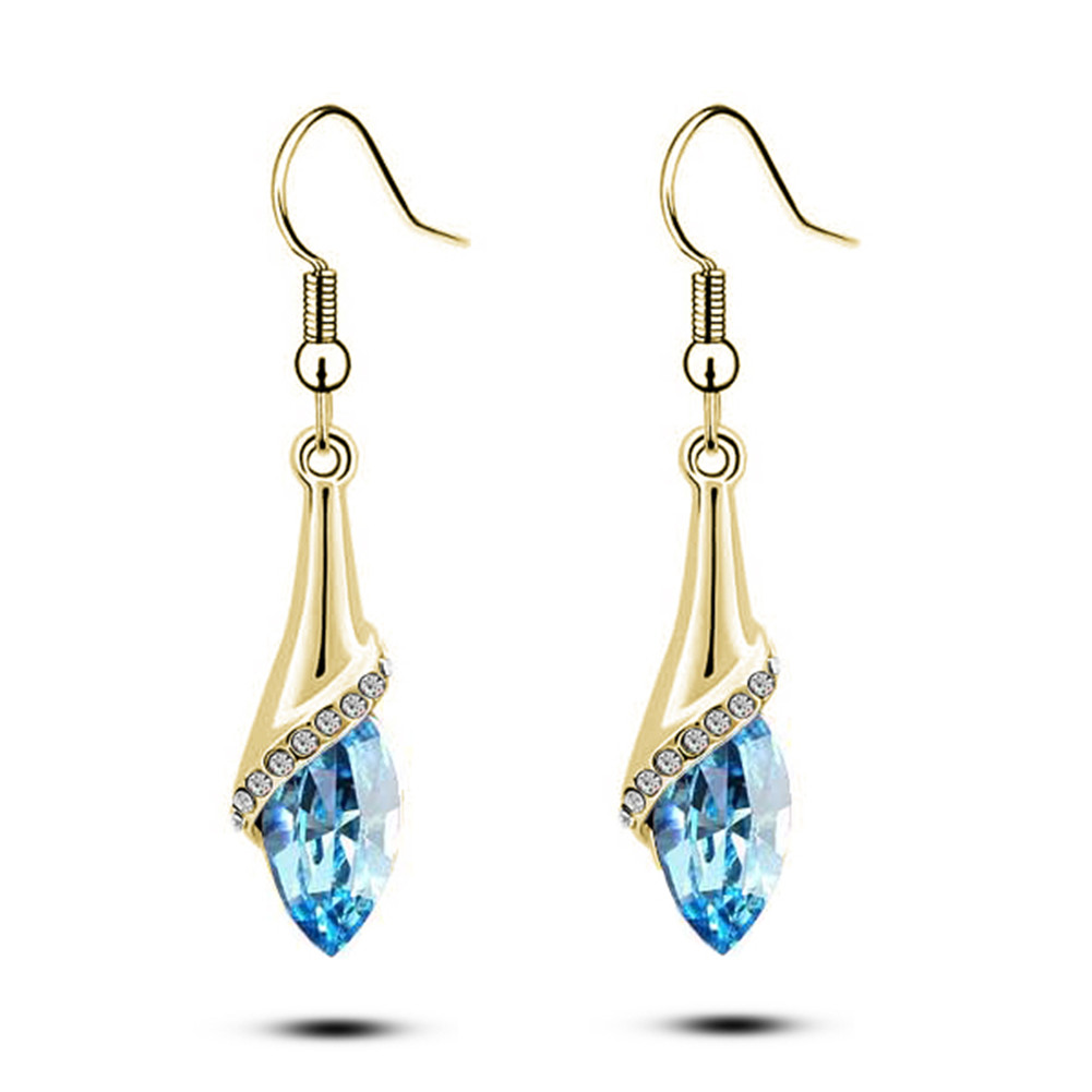 Fashion Jewelry Austria Element Crystal Waterdrop Earrings For Women 2017 Popular Rhinestone Drop Long Jewelery female brincos