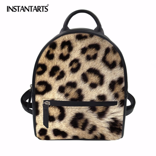 61cced1398a0 INSTANTARTS Brand Women Backpack Leopard Stripe Print Small Backpack  Waterproof PU Leather Mini Bagpack Preppy Style School Bag