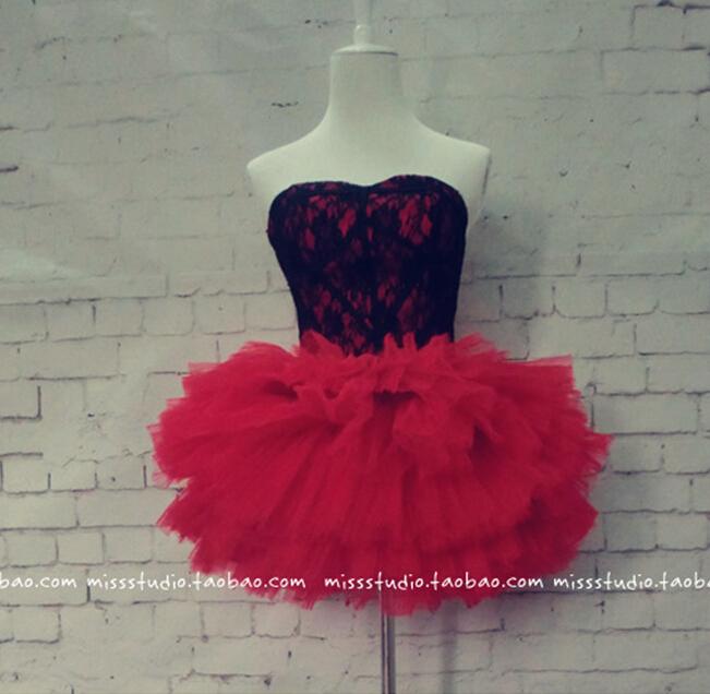 lace short mini prom dresses ball gown 2015 new design hot sexy sweetheart red tiered tiered evening dress vestido de festa in Prom Dresses from Weddings Events