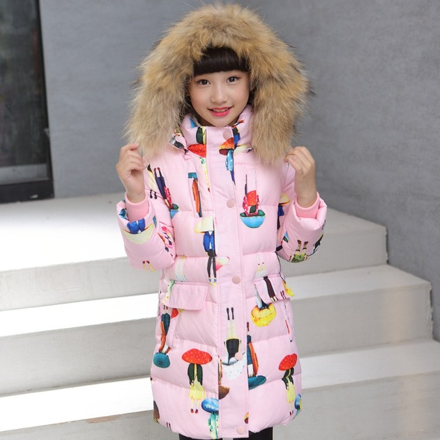 a238bf915b5a 2018 Fashion winter Girl down Jackets Coats warm Kids baby thick duck Down  jacket real fur Children Outerwears cold -30degree