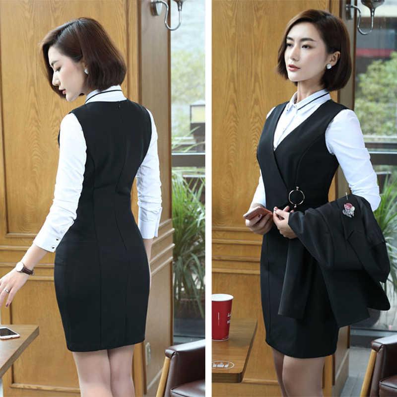 0446ce31e4 Women Dress Suit 2019 Fashion Business V-neck Dress Formal Office Suits  Work Female Slim Fit Elegant Office Uniform Plus Size