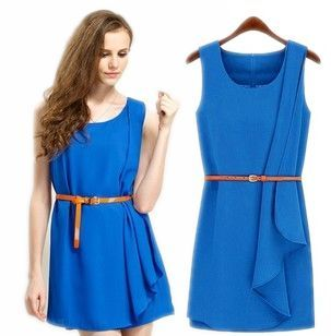 hot summer fashion Asymmetrical women blue dress sleeveless with belt design brand sexy mini club party top for woman plus size