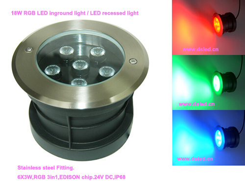 CE,IP68,good quality ,high power 18W RGB LED outdoor light,RGB LED recessed light,DS-11S-17-18W-RGB,6X3W RGB 3in1,24V DC, good group diy kit led display include p8 smd3in1 30pcs led modules 1 pcs rgb led controller 4 pcs led power supply