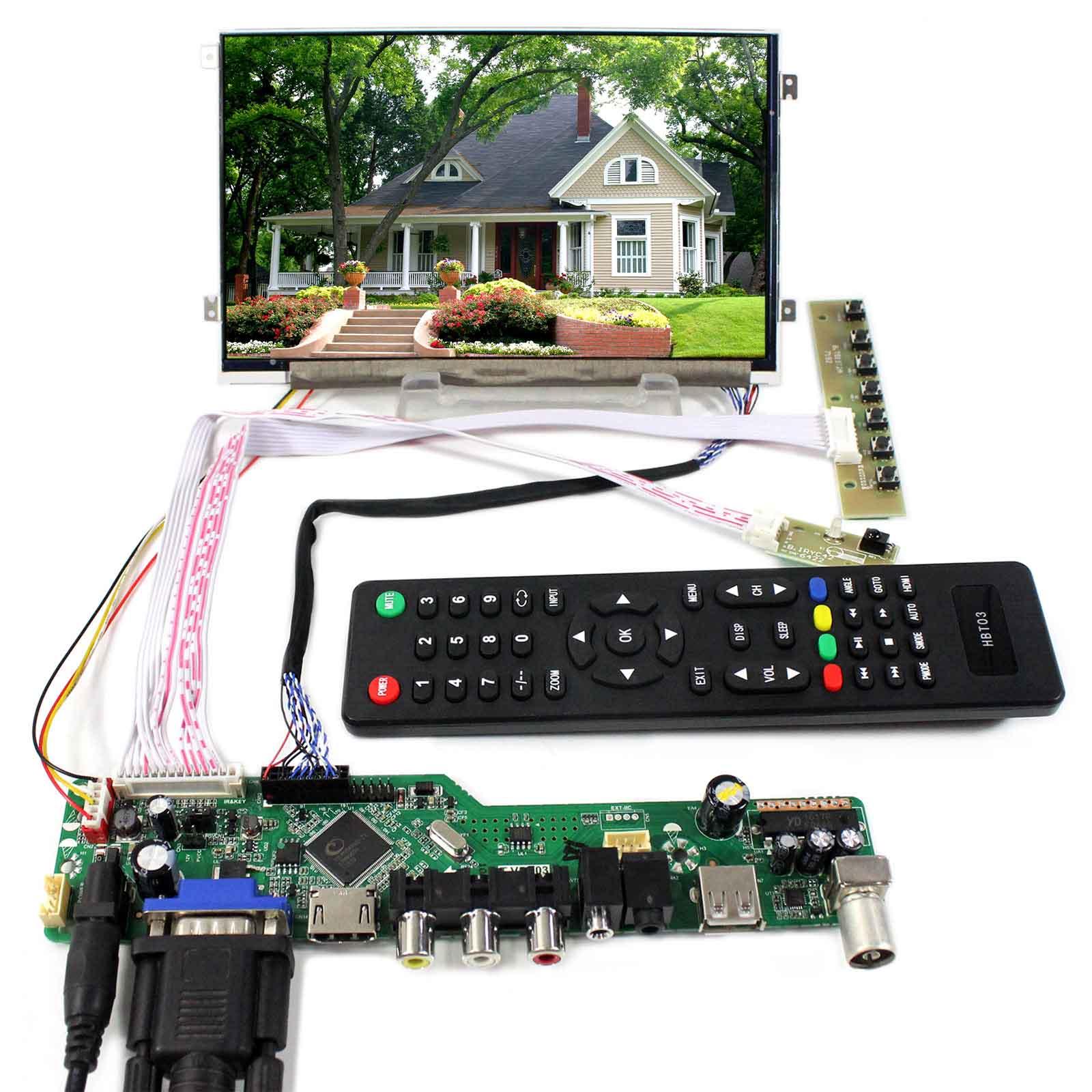HDMI VGA AV USB RF LCD Controller Board With 7inch 1024x600 HV070WS1 105 LCD Screen