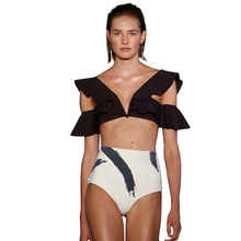 цена Sexy Black Ruffle Halter Bikini Set Women Swimwear Padded Bathing Suit Swimsuit High Waist Bikinis Summer Bathing Suit Beachwear онлайн в 2017 году