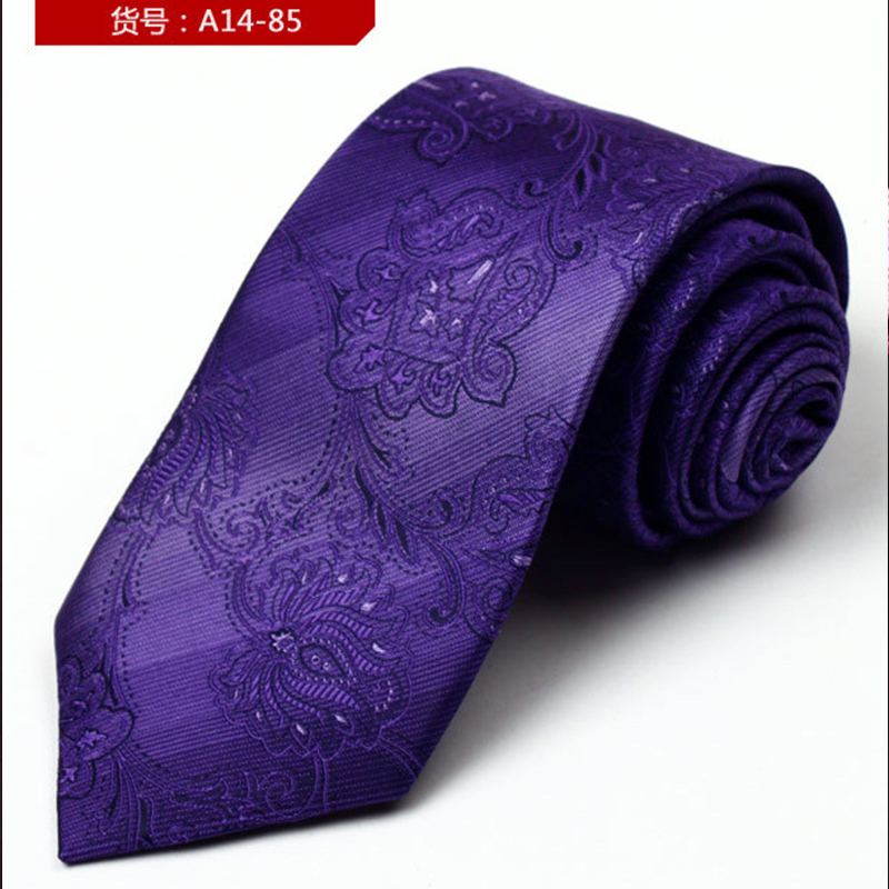 Fashion Shirt Neck Tie Jacquard Gravatas Purple Floral Embroidery Mens Ties Cravat Neckt ...